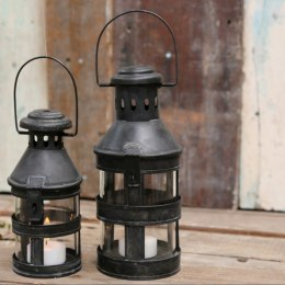 Metalowy lampion industrialny czarny Chic Antique A