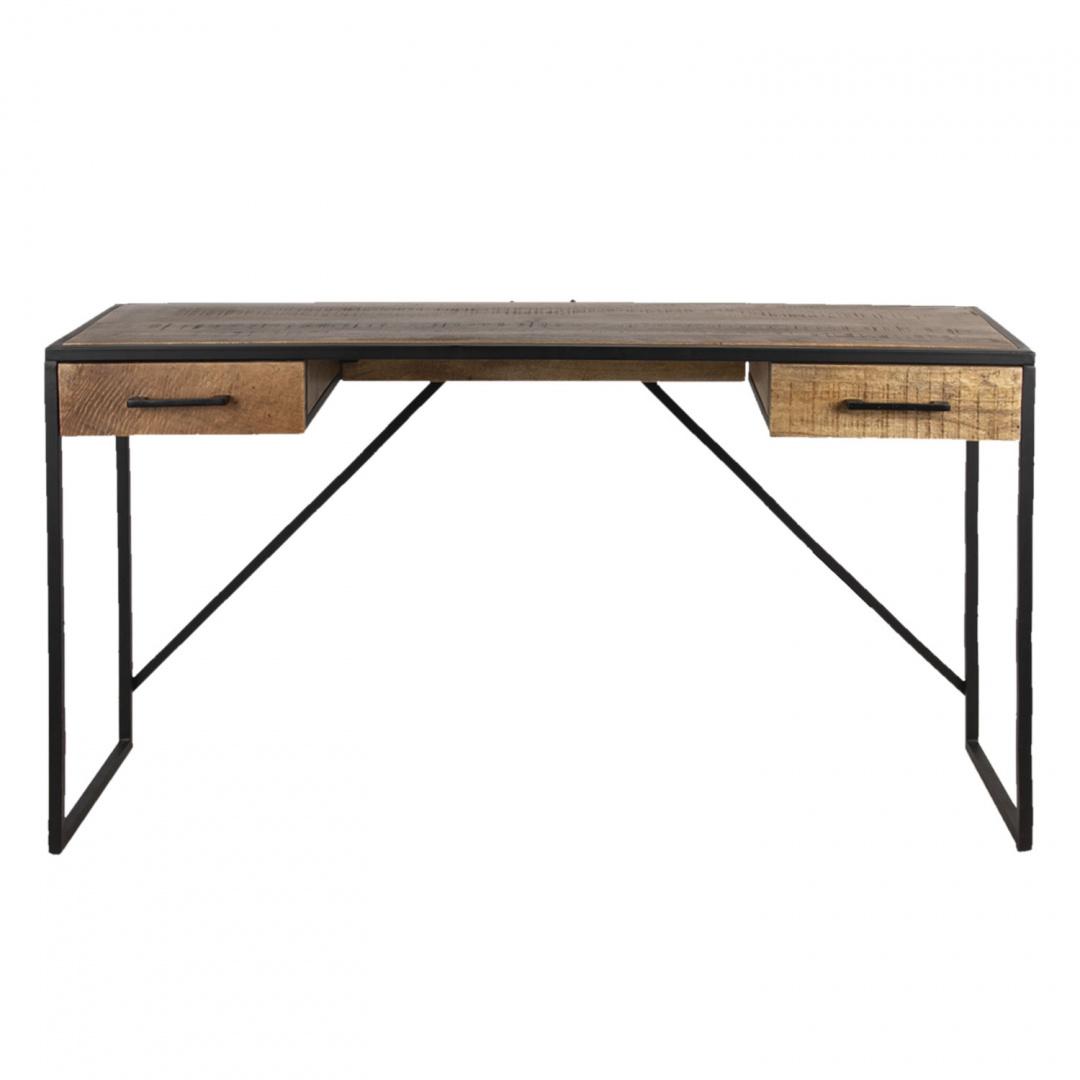Industrialne metalowe biurko z drewnianym blatem
